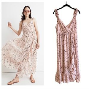 Madewell ruffle strap wrap dress in inkspot dots